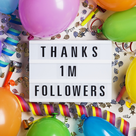 Thanks 1 million followers social media lightbox background. Celebration of followers, subscribers, likes. Stock Photo