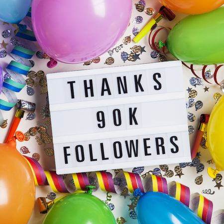 Thanks 90 thousand followers social media lightbox background. Celebration of followers, subscribers, likes.