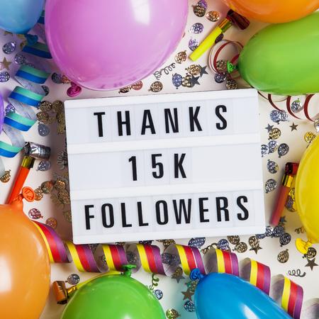 Thanks 15 thousand followers social media lightbox background. Celebration of followers, subscribers, likes.