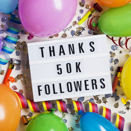Thanks 50 thousand followers social media lightbox background. Celebration of followers, subscribers, likes.