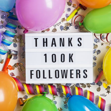 Thanks 100 thousand followers social media lightbox background. Celebration of followers, subscribers, likes. Stock Photo