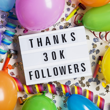 Thanks 30 thousand followers social media lightbox background. Celebration of followers, subscribers, likes.