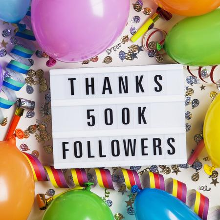 Thanks 500 thousand followers social media lightbox background. Celebration of followers, subscribers, likes.