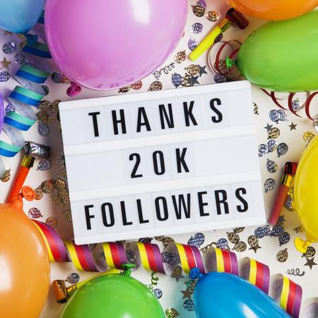 Thanks 20 thousand followers social media lightbox background. Celebration of followers, subscribers, likes. Stock Photo