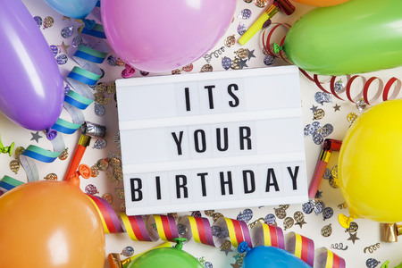 Party celebration background with a message on a lightbox