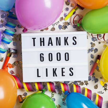 Thanks 6 thousand likes social media lightbox background. Celebration of followers, subscribers, likes.