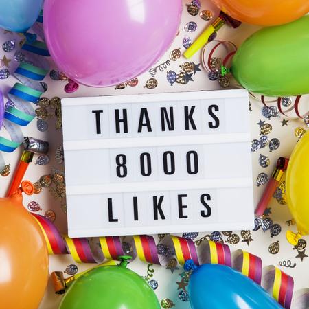 Thanks 8 thousand likes social media lightbox background. Celebration of followers, subscribers, likes.