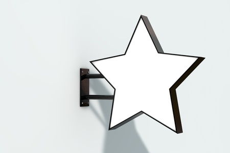 Blank white company store sign mock up on a wall. 3D Rendering Stock Photo