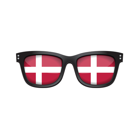Denmark national flag fashionable sunglasses Illustration