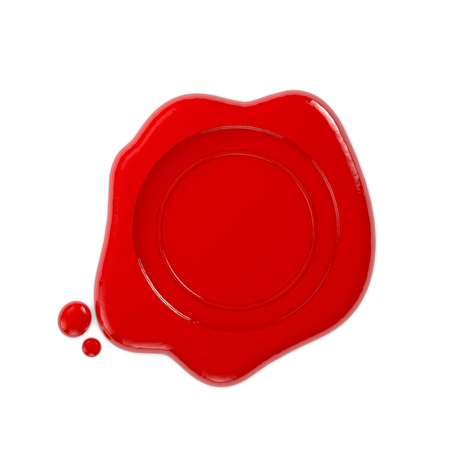 Red wax seal. 3D Rendering Stock Photo