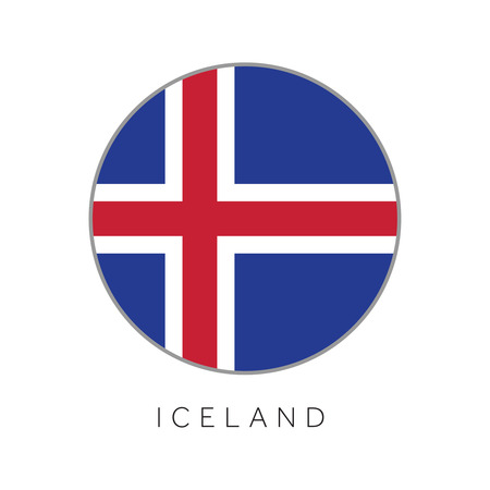 Iceland flag round circle vector icon Illustration