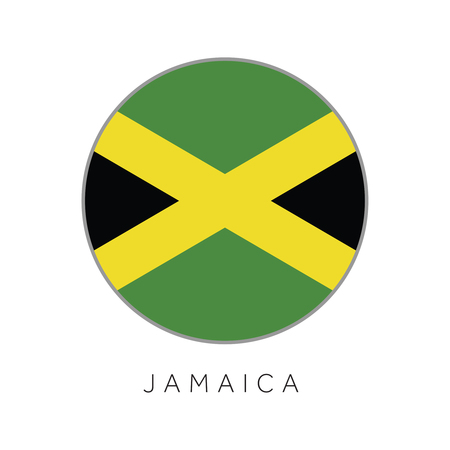 Jamaica flag round circle vector icon Illustration