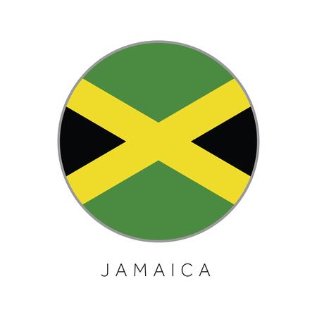 Jamaica flag round circle vector icon Illustration