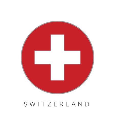 Switzerland flag round circle vector icon Illustration