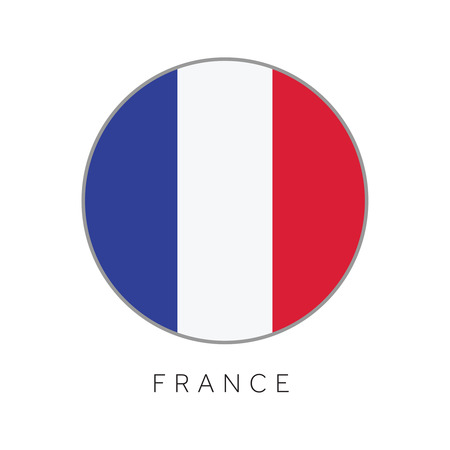 France flag round circle vector icon Illustration
