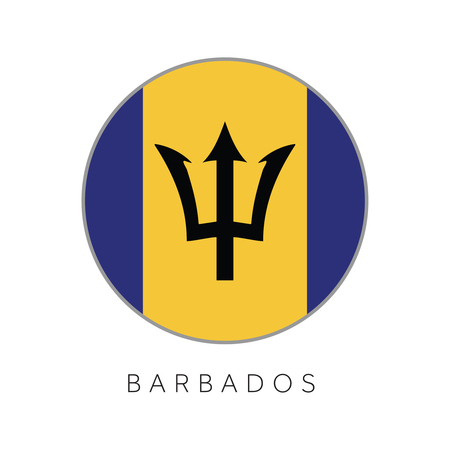 Barbados flag round circle vector icon Illustration
