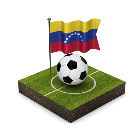 Venezuela flag football concept. Flag, ball and soccer pitch isometric icon. 3D Rendering