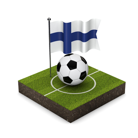 Finland flag football concept. Flag, ball and soccer pitch isometric icon. 3D Rendering