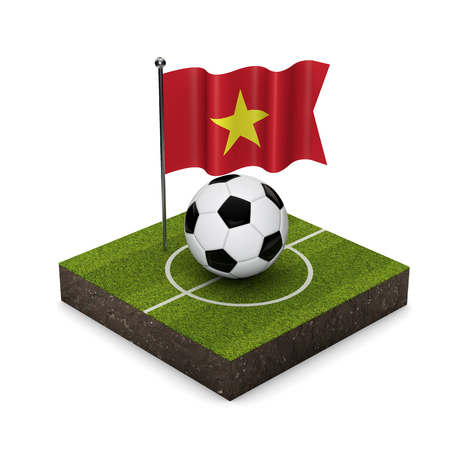 Vietnam flag football concept. Flag, ball and soccer pitch isometric icon. 3D Rendering Stock Photo