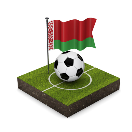 Belarus flag football concept. Flag, ball and soccer pitch isometric icon. 3D Rendering
