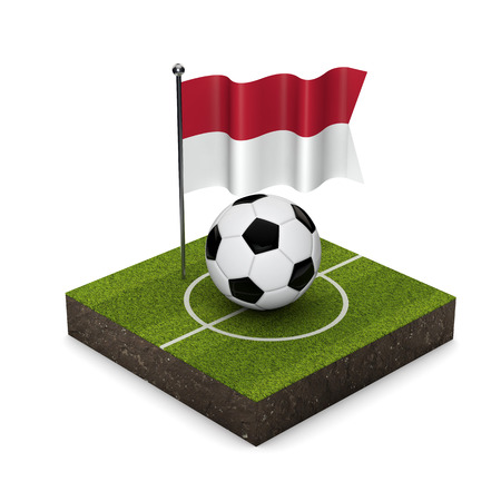 Indonesia flag football concept. Flag, ball and soccer pitch isometric icon. 3D Rendering