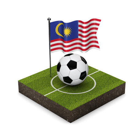 Malaysia flag football concept. Flag, ball and soccer pitch isometric icon. 3D Rendering