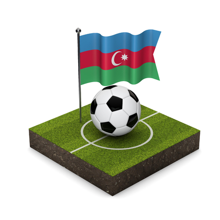 Azerbaijan flag football concept. Flag, ball and soccer pitch isometric icon. 3D Rendering Stock Photo