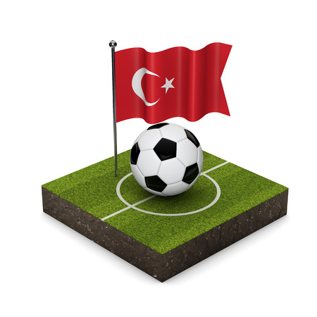 Turkey flag football concept. Flag, ball and soccer pitch isometric icon. 3D Rendering Standard-Bild