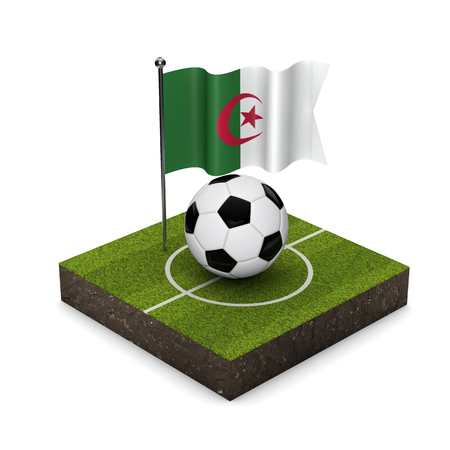 Algeria flag football concept. Flag, ball and soccer pitch isometric icon. 3D Rendering Stock Photo