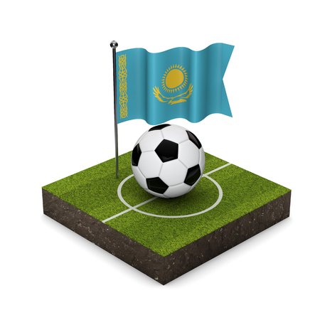 Kazakhstan flag football concept. Flag, ball and soccer pitch isometric icon. 3D Rendering