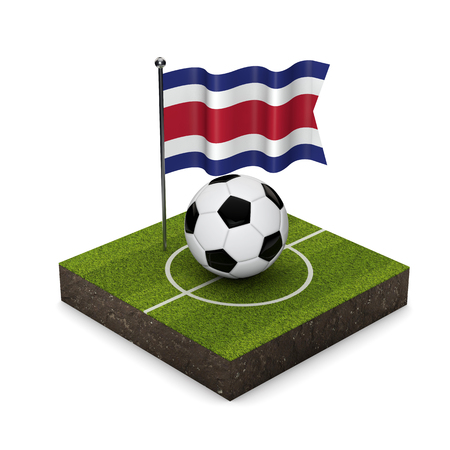 Costa Rica flag football concept. Flag, ball and soccer pitch isometric icon. 3D Rendering Stock Photo