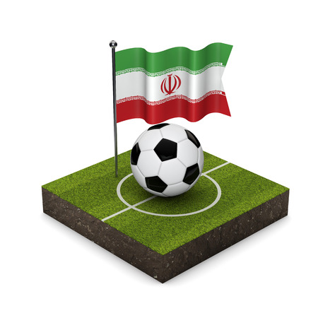 Iran flag football concept. Flag, ball and soccer pitch isometric icon. 3D Rendering