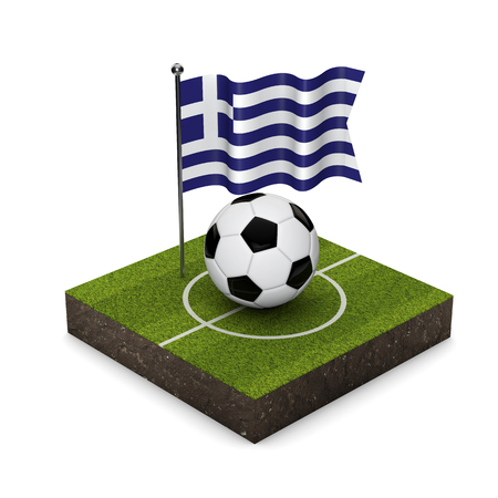Greece flag football concept. Flag, ball and soccer pitch isometric icon. 3D Rendering Stock Photo