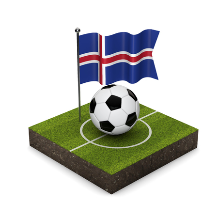 Iceland flag football concept. Flag, ball and soccer pitch isometric icon. 3D Rendering