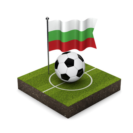 Bulgaria flag football concept. Flag, ball and soccer pitch isometric icon. 3D Rendering