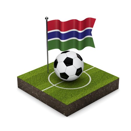 Gambia flag football concept. Flag, ball and soccer pitch isometric icon. 3D Rendering Stock Photo