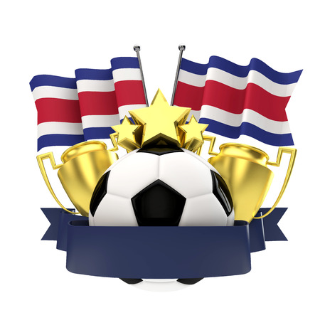 Costa Rica flag football winners emblem with trophy, stars, ball and ribbon. 3D Rendering