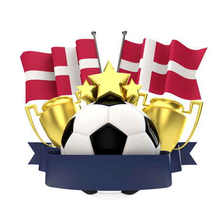 Denmark flag football winners emblem with trophy, stars, ball and ribbon. 3D Rendering
