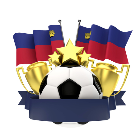Liechtenstein flag football winners emblem with trophy, stars, ball and ribbon. 3D Rendering