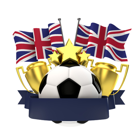 United Kingdom flag football winners emblem with trophy, stars, ball and ribbon. 3D Rendering