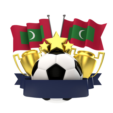 Maldives flag football winners emblem with trophy, stars, ball and ribbon. 3D Rendering