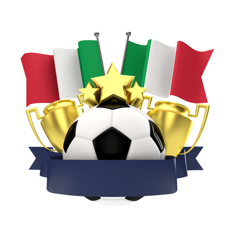 Italy flag football winners emblem with trophy, stars, ball and ribbon. 3D Rendering