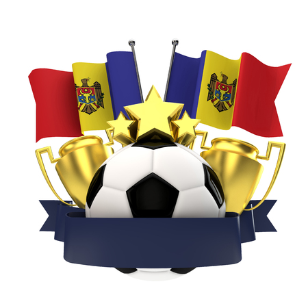 Moldova flag football winners emblem with trophy, stars, ball and ribbon. 3D Rendering