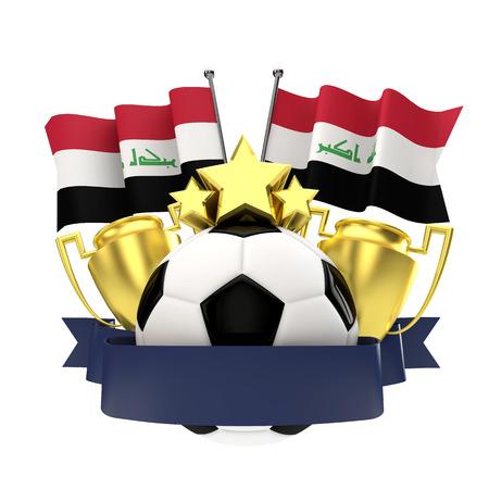 Iraq flag football winners emblem with trophy, stars, ball and ribbon. 3D Rendering