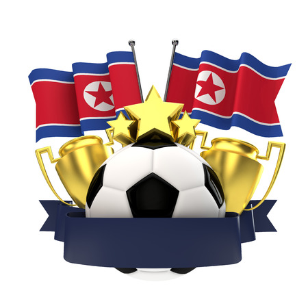 North Korea flag football winners emblem with trophy, stars, ball and ribbon. 3D Rendering