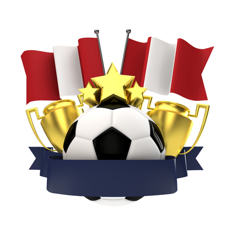 Peru flag football winners emblem with trophy, stars, ball and ribbon. 3D Rendering Stock Photo