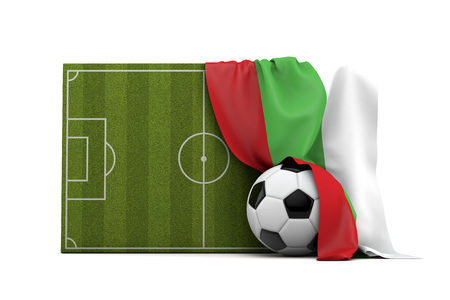 Bulgaria country flag draped over a football soccer pitch and ball. 3D Rendering