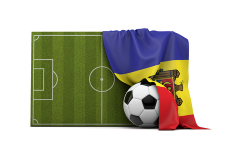 Moldova country flag draped over a football soccer pitch and ball. 3D Rendering