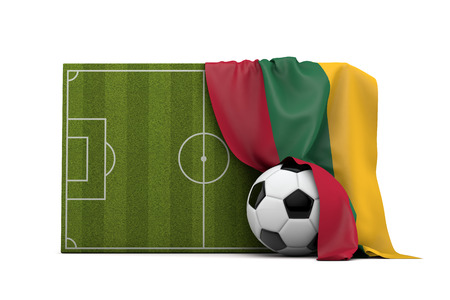 Lithuania country flag draped over a football soccer pitch and ball. 3D Rendering
