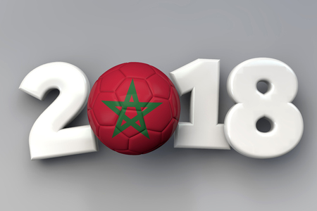 2018 Morocco flag football background. 3D Rendering